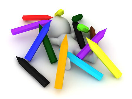 coordinated: 3D Character sitting in a pile of large pencils. Image could be used to convey creativity.