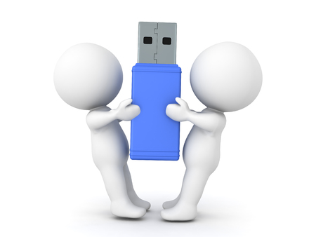 3D Characters fighting over usb sitck drive. Image conveying disagreement over an object. Stock Photo