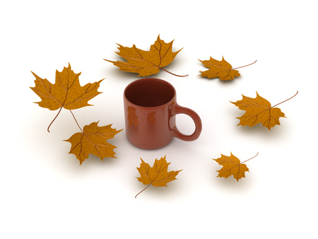 3D illustration of a cup of coffee with yellow autumn leaves around it. Image could convey the nostalgic feeling of autumn. Stok Fotoğraf