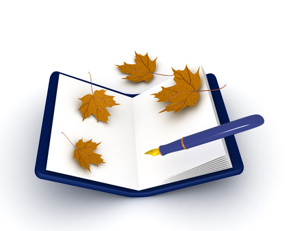 3D illustration of a pen and notebook with autumn leaves around, Image can be used to convey writing a journtal.