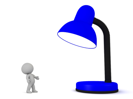 3D Character looking up at large desk lamp. The lamp is a vivid dark blue.