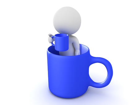 3D Character sitting in a giant cup while holding a cup. This image is cup inception. Stock Photo