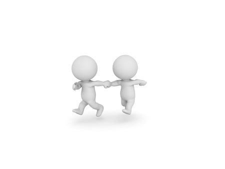 3D Two 3D Characters running and holding hands - zoomed out. Image could convey the desire to escape. Stock Photo