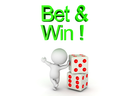 3D Character leaning on a pair of dice with Bet and win text above him. Image can relate to gambling. Stock Photo