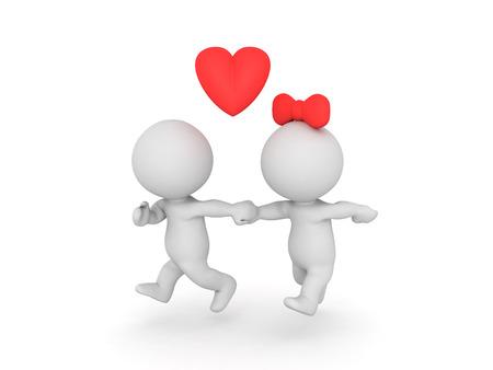 3D illustratie van paar dat wegloopt. Afbeelding kan een rechtvaardig getrouwd stel of een affaire verbeelden.
