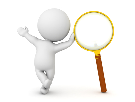 3D Character leaning on magnifying glass. Image can depict the concept of searching or investigating.