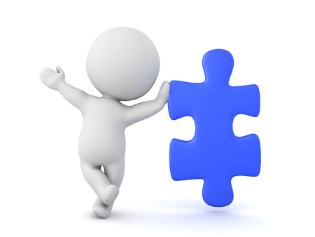 puzzling: 3D Character leaning on blue jigsaw puzzle piece. A playful image with a blue puzzle piece. Stock Photo
