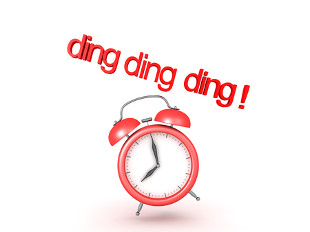 five o'clock: 3D illustration of classic alarm clock ringing. The clock is showing eight in the morning.