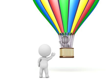 3D karakter vliegen weg in een heteluchtballon en zwaaien vaarwel. Afbeelding kan elk vertrekscenario weergeven