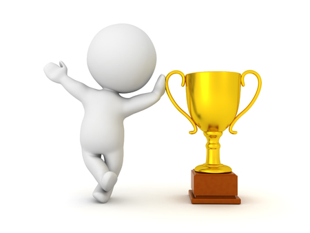 3D Character leaning on golden metallic trophy. Image can be used in any award ceremony setting.