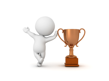3D Character leaning on bronze metallic trophy.  Image can be used in any award ceremony setting.