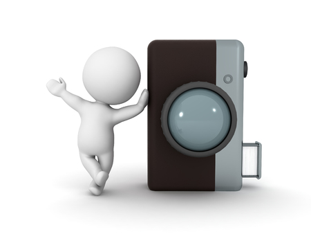3D Character leaning on retro photo camera. Image can relate to any photography concept illustration.