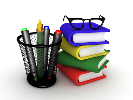 3D illustration of stack of books wtith glasses on top and pecils next to them. Image of day to day paperwork objects.