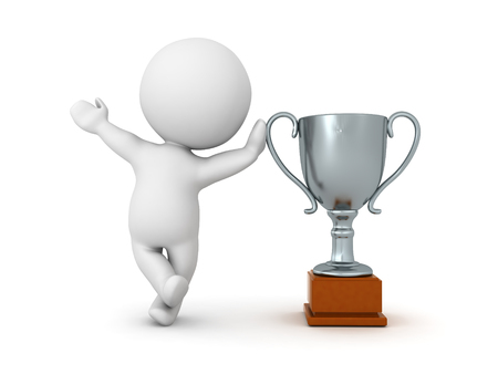 3D Character leaning on silver metallic trophy.  Image can be used in any award ceremony setting.