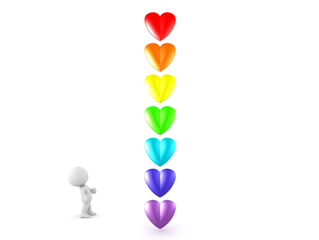 bioenergy: 3D Character looking at rainbow colored cartoon hearts. Seven hearts stacked vertically in the color of the rainbow. Stock Photo