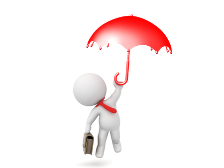 rainbow umbrella: 3D Character dressed as white collar worker flying away holding an umbrella. Image could depict flying away to work or employees leaving a company. Stock Photo
