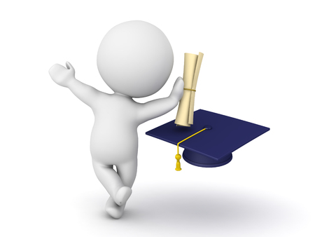 3D Character leaning on diploma with graduation hat. Image can convey graduation of any discipline. Stock Photo