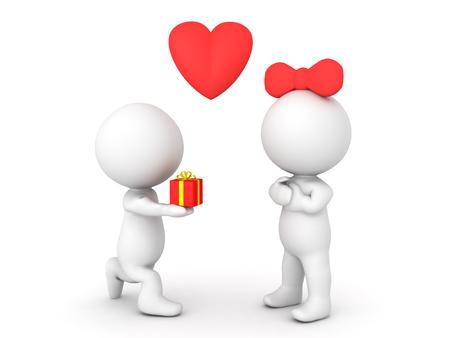 3D-karakter met cadeau of ring aan vrouwelijk karakter. Afbeelding kan worden gebruikt in een engagement- of voorstelscenario. Stockfoto