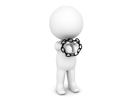 3D Character with his hands tied up with a chain. Image depicting any situation when a person is a prisoner.