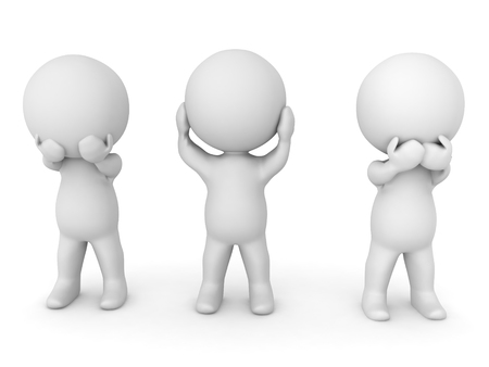 3D illustration depicting the see no evil, hear no evil, speak no evil concept. The three wise monkeys.  Stock Photo