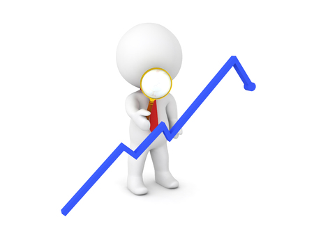 3D Character inspecting with a magnifying glass a blue graph, The chart shows profit and growth.
