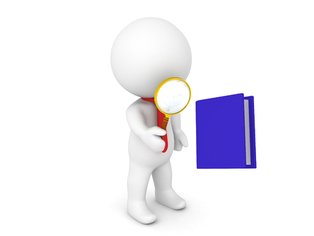 3D Character inspecting with a magnifying glass a blue book, Image could depict a more deeper analysis of a book.