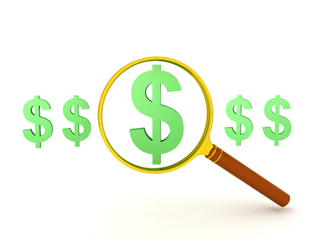 3D illustration of a dollar symbol singled out and magnifyied. Image can be used in any financial situation.