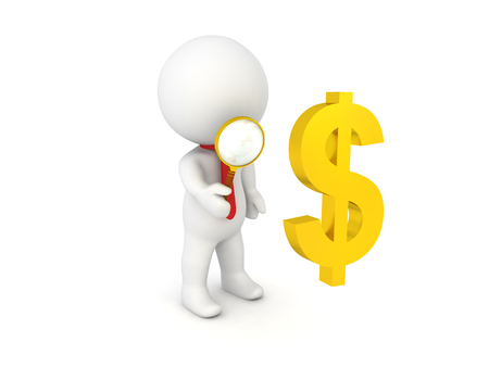 3D Character inspecting with a magnifying glass a golden dollar sign, Image can relate to any financial situation.