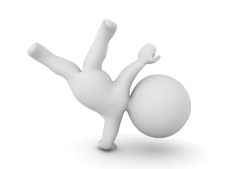 pommel: 3D Character making a one handed breakdancing pose. Or it could be thomas flare from gymnastics.