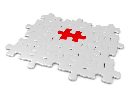 3D illustration of grey jigsaw puzzle pieces with a red one in the middle. Image can convey uniqueness.
