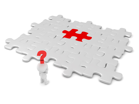 searcher: 3D character searching for red puzzle piece. Image can depict the concept of searching for something mysterious. Stock Photo