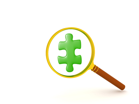 3D illustration of green jigsaw puzzle piece held in front of magnifying glass. The piece is shiny.  Stock Photo