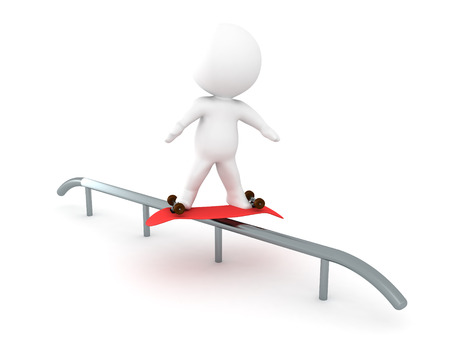 3D Character doing a darkside grind on a rail with a skateboard. Image depicting extreme sports. Stock Photo
