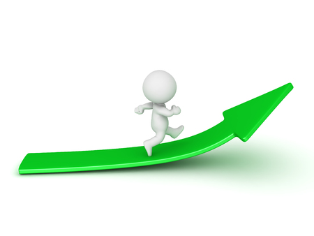 3D Character running on upward green arrow. Image could depict growth or development.