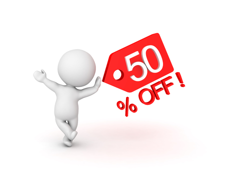 3D Character leaning on fifty percent sale off price tag which shows sales promotion. Image can be used in any price reduction promotion. Stock Photo