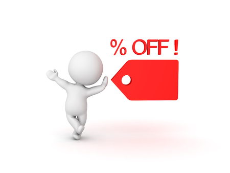 3D Character with percent off price tag symbolizing a sales promotion. Image can be used when the price has been cut.