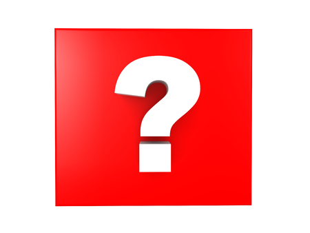 3D illustration of a white question mark over a red background. Image depicting an icon of inquiry