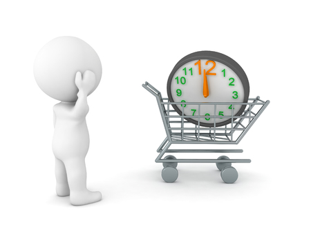 3D illustration the concept of trying to buy more time. Image depicting an existential dilemma.