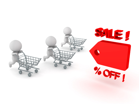 Three 3D Characters running and pushing shopping cart towards price cut tag. Image conveying sales promotion. Stock Photo