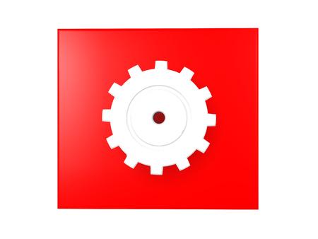3D illustratie van een glanzend radertje over een rode achtergrond. Afbeelding kan het werk symboliseren dat wordt uitgevoerd.