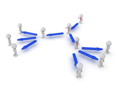 3D illustration of the hierarchy in a company. Image can be used in any leadership scenario.  Stock Photo