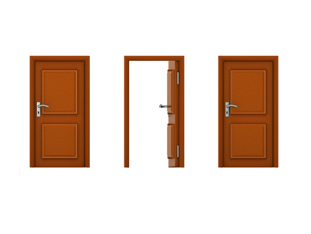 3D illustration of three doors with one being open. Image could convey the idea of an opportunity.  Stock Photo