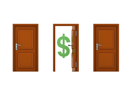 3D illustration of three doors with one being open. Image could convey the idea of an opportunity.  Banco de Imagens
