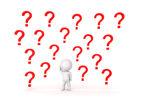 3D Character with many question marks in the background. Image conveying confusion.