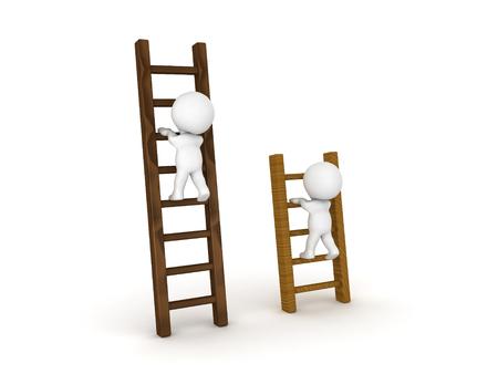 Twee 3D-personages klimmen op verschillende soorten ladders. Afbeelding kan in vergelijkingsscenario worden gebruikt.