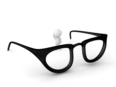 3D Character standing next to giant pair of glasses. The glasses are big. Stock Photo