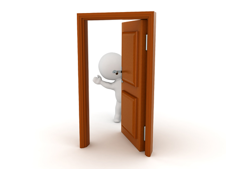3D Character waving from behind a half opened door. The character is cute. Stock Photo