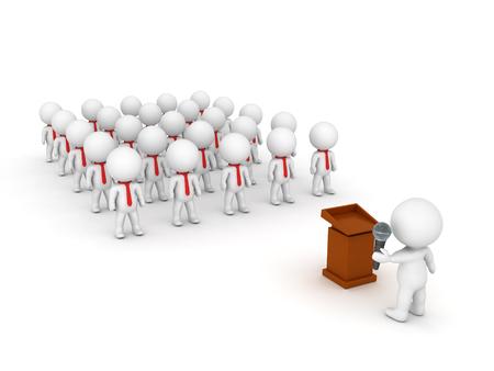 3D illustration depicting a large public speaking event