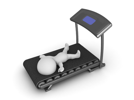 3D-teken uitgeput door trainen op de loopband. Beeld dat een fitness gymscenario afschildert.