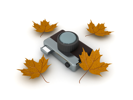 3D illustration of retro vintage photo camera with yellow autumn leaves around. Its a more artistic image.